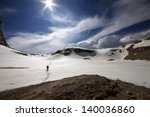 hiker on snow plateau. turkey ...