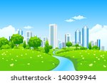 green landscape with trees... | Shutterstock . vector #140039944