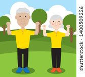 old couple workout in the... | Shutterstock .eps vector #1400509226