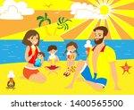 happy family eating ice cream... | Shutterstock .eps vector #1400565500