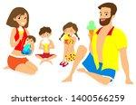 happy family eating ice cream... | Shutterstock .eps vector #1400566259