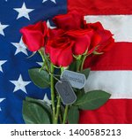 american flag with roses and... | Shutterstock . vector #1400585213