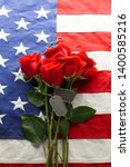 american flag with roses and... | Shutterstock . vector #1400585216