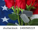 american flag with roses and... | Shutterstock . vector #1400585219