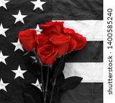 black and white american flag... | Shutterstock . vector #1400585240
