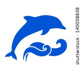 blue dolphin and waves... | Shutterstock . vector #140058838