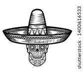 mexican sugar skull in sombrero.... | Shutterstock . vector #1400616533