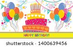 happy birthday card.... | Shutterstock .eps vector #1400639456