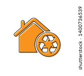 orange eco house with recycling ... | Shutterstock .eps vector #1400736539
