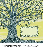 Old Graphic Tree With Twisted...
