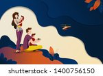 young family in nature. dad and ... | Shutterstock .eps vector #1400756150