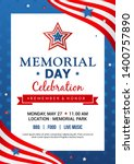 memorial day poster templates... | Shutterstock .eps vector #1400757890