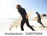 young surfers sports men on a... | Shutterstock . vector #140079400