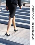 businesswoman walking up stairs ... | Shutterstock . vector #14008060