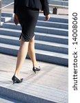 businesswoman walking up stairs ... | Shutterstock . vector #14008060