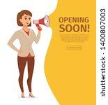 woman holding loudspeaker... | Shutterstock .eps vector #1400807003