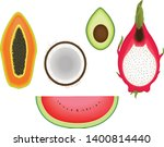 tropical fruits five kind... | Shutterstock .eps vector #1400814440