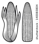 corn  corncob with leaves  | Shutterstock .eps vector #140083804
