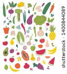 fruits and vegetables hand draw ... | Shutterstock .eps vector #1400844089