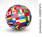 World Flags Sphere. Vector...