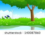 green landscape with tree wind... | Shutterstock . vector #140087860