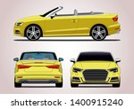vector layout of the popular yellow convertible. Audi S3.