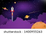rockets fly in space with... | Shutterstock .eps vector #1400955263