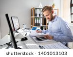 businessperson calculating...   Shutterstock . vector #1401013103