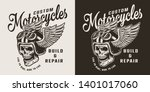vintage custom motorcycle shop... | Shutterstock .eps vector #1401017060