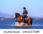 cowboy on horseback.cowboy... | Shutterstock . vector #1401027089