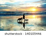 Stock photo man with a dogs running on the beach at sunset bali island indonesia 140105446