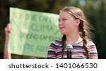 Small photo of Greta Thunberg Looks to the Future in Front of a Huge Crowd in Rome, 2019. Wind-Blown Hair. In February 2021 Her Effigies Were Burned in Delhi After Her Controversial Tweets on Indian Farmers Protest
