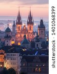 view of prague in the early... | Shutterstock . vector #1401068399