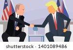 trump and putin handshake... | Shutterstock .eps vector #1401089486