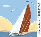 seascape   sailboat on the... | Shutterstock .eps vector #1401099860