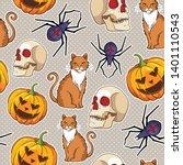 halloween vector seamless... | Shutterstock .eps vector #1401110543