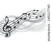 musical notes staff background... | Shutterstock .eps vector #140117740
