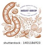 retro vector meat illustration. ... | Shutterstock .eps vector #1401186923