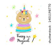 magic cute unicorn brown bear... | Shutterstock .eps vector #1401198770