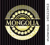 mongolia golden badge or emblem.... | Shutterstock .eps vector #1401213413