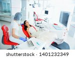 young beautiful girl in dental... | Shutterstock . vector #1401232349