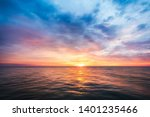 Beautiful Sunset On Sea In...