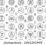 yoga concept  seamless pattern... | Shutterstock .eps vector #1401241949