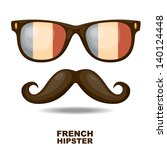 sunglasses and mustaches.... | Shutterstock .eps vector #140124448