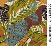 tropical watercolor tropical... | Shutterstock . vector #1401256820