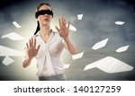 young blindfolded woman. can... | Shutterstock . vector #140127259