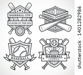 baseball badges in black and... | Shutterstock .eps vector #1401282986