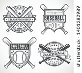 baseball badges in black and... | Shutterstock .eps vector #1401282989