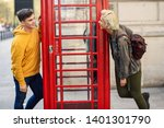 young happy couple of friends... | Shutterstock . vector #1401301790