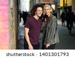happy couple talking in urban... | Shutterstock . vector #1401301793